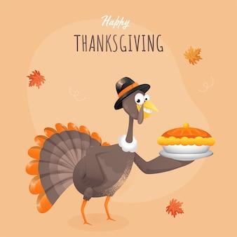 Turkey bird presenting pie cake plate on light orange background for happy thanksgiving celebration concept.