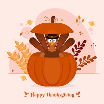 Turkey bird wearing pilgrim hat inside pumpkin with leaves and wheat ears on white background for happy thanksgiving celebration.
