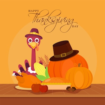 Turkey bird wearing pilgrim hat with pumpkins, wheat ears, corn, pie cake, fruits and roast chicken on orange background for happy thanksgiving day.
