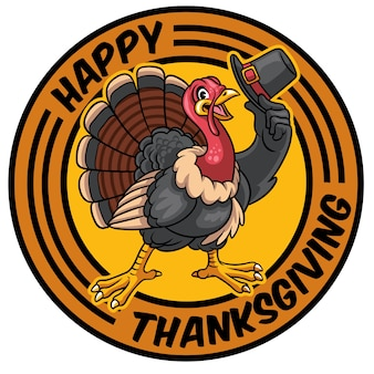 Turkey cartoon character holding the hat for thanksgiving celebration
