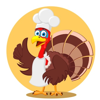 A turkey in a chefs hat shows class on a white background. thanksgiving day.