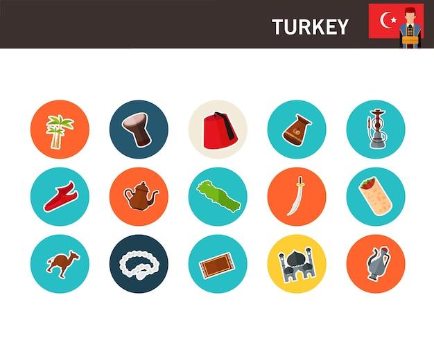 Turkey concept flat icons