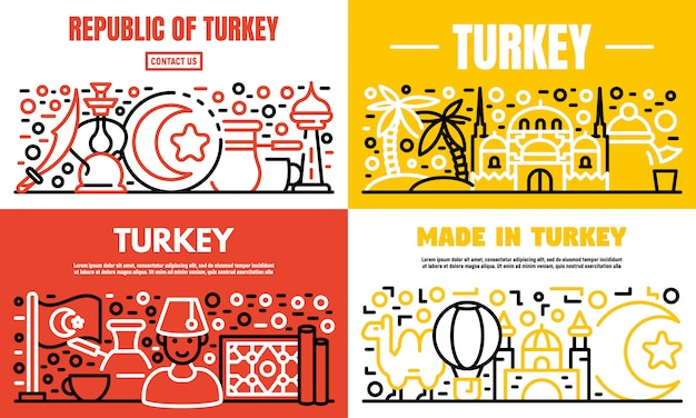 Turkey country banner set, outline style