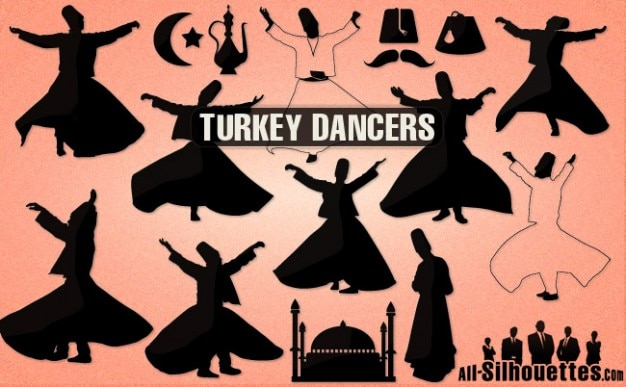 Turkey dancers silhouettes