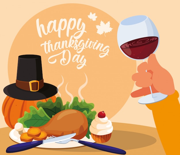 Turkey dinner dinnes with pumpkin and icon set