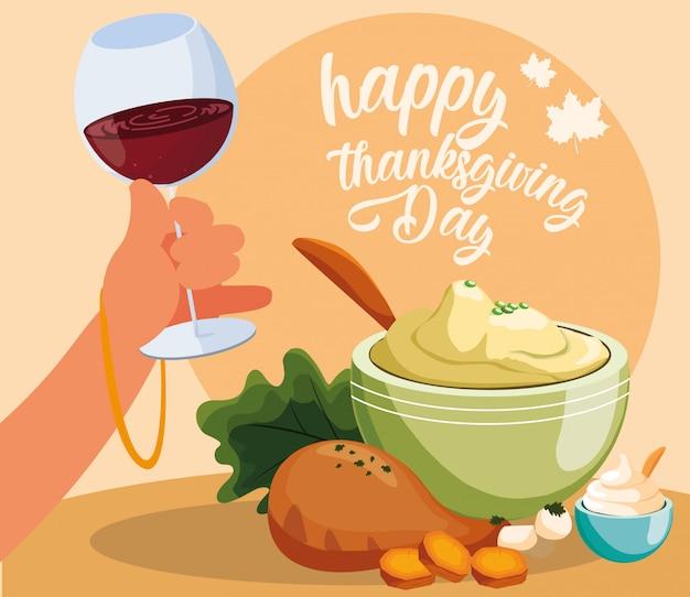 Индейка ужин день благодарения с набором иконок