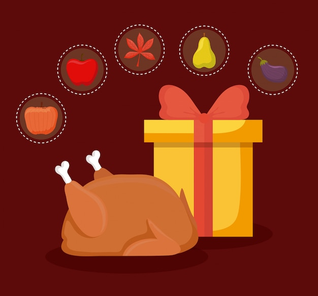 Turkey dinner of thanksgiving day with autumn icon set