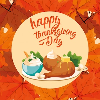 Turkey dinner of thanksgiving day with leafs