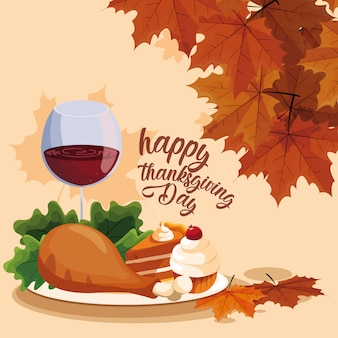 Turkey dinner with cup wine and cakes