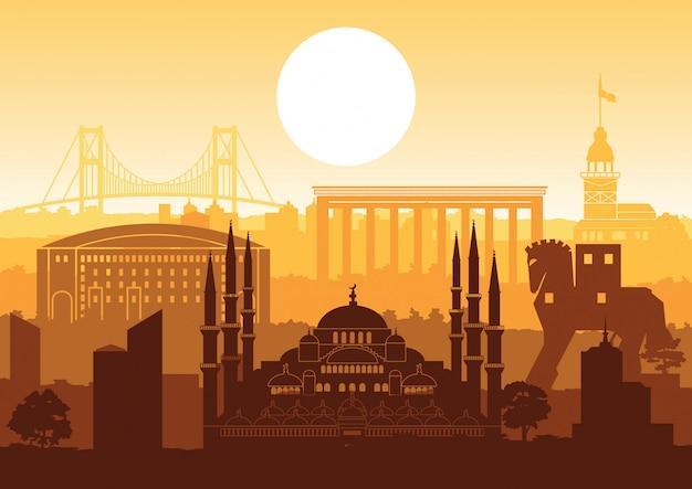 Turkey famous landmark silhouette style