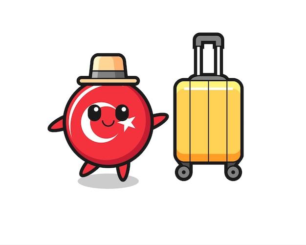 Иллюстрация шаржа значка флага турции с багажом в отпуске, милый стиль дизайна для футболки, стикера, элемента логотипа