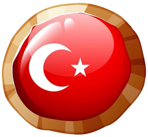 丸いバッジのトルコの旗のデザイン