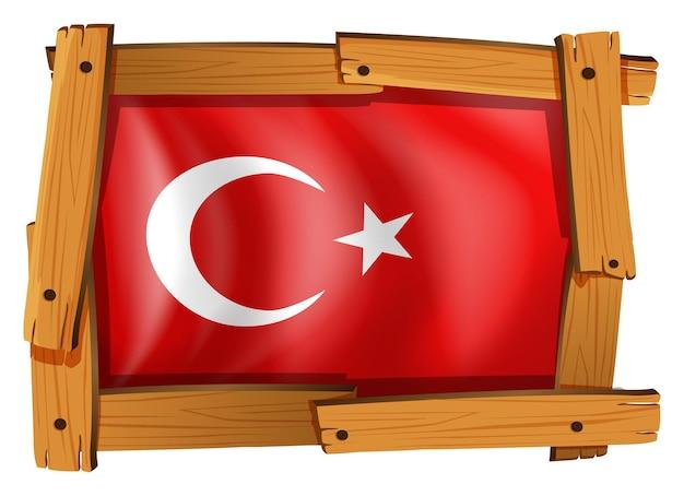 Флаг турции в деревянной рамке