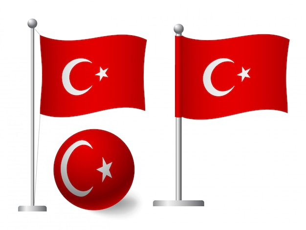 Turkey flag on pole and ball icon