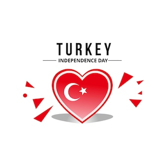 Turkey flag vector with heart pattern