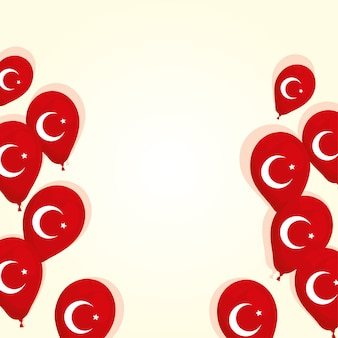 Turkey flags country in balloons helium vector illustration design