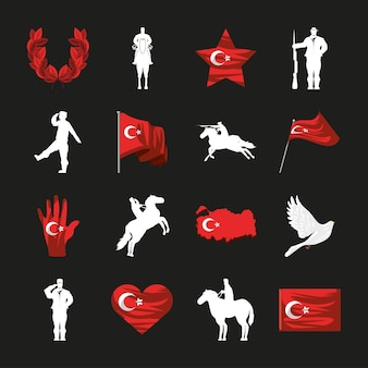 Turkey flags and soldier