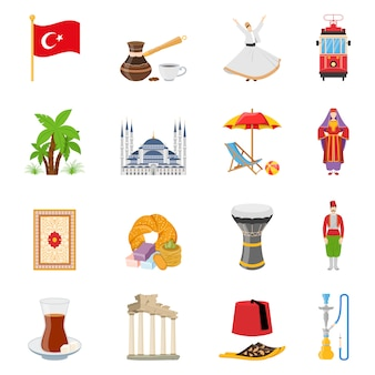 Turkey flat colored icons set