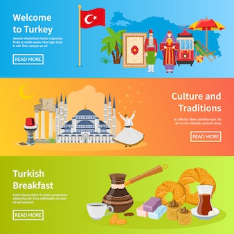 Turkey flat horizontal banners