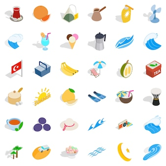 Turkey fruit icons set, isometric style