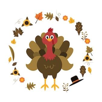 Турция счастливый день благодарения осень осень плоский иллюстрация
