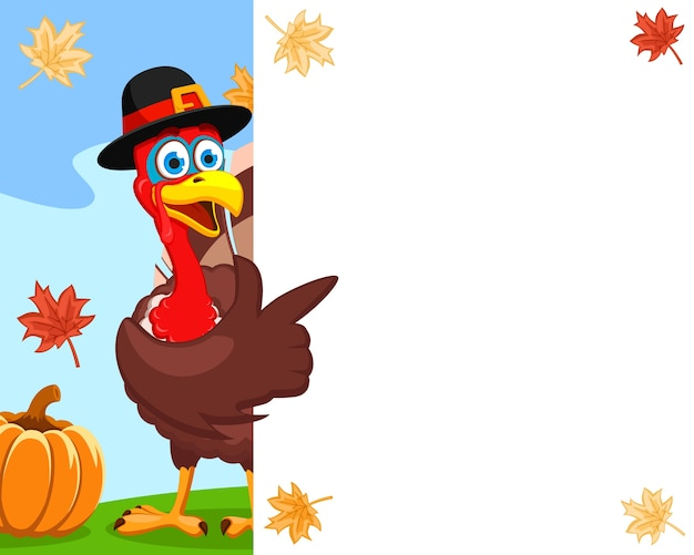 A turkey in a hat points a wing to a white sheet, a place for text. thanksgiving day.