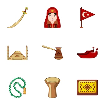 Turkey icons set, cartoon style