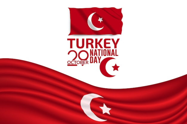 Turkey independence day flag vector background illustration