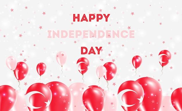 Патриотический дизайн дня независимости турции. воздушные шары в турецких национальных цветах. поздравительная открытка вектора дня независимости сша.