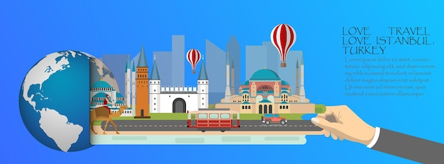 Turkey infographic, global with landmarks of istanbul