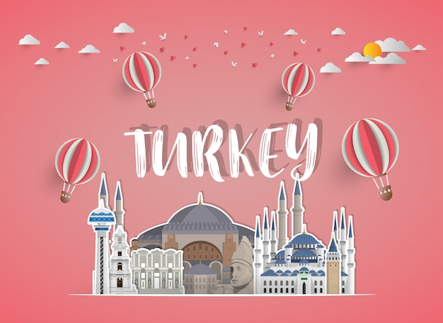 Turkey landmark global travel and journey paper background.