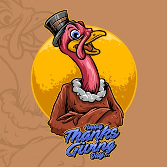 Turkey mascot of thanksgiving day vector illustration