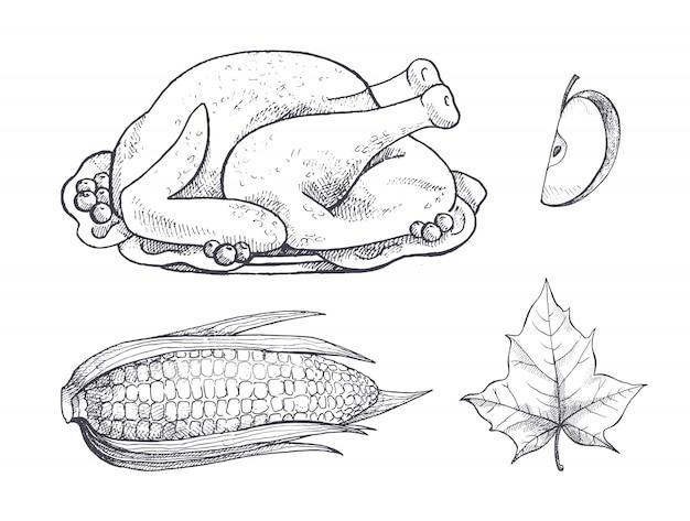 Turkey meat dish and corn vegetable set