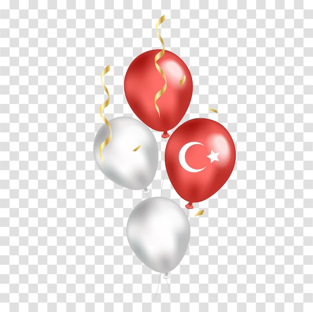 Национальный день турции реалистичные воздушные шары с флагом на прозрачном фоне. день независимости. векторная иллюстрация.