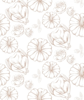 Turkey and pumpkins pattern line art