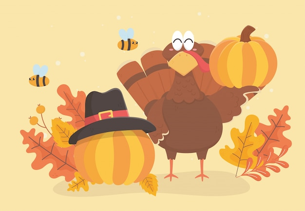 Turkey and pumpkins with pilgrim hat bee and leaves happy thanksgiving celebration