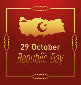 Turkey republic day, golden map moon star emblem frame decoration card illustration