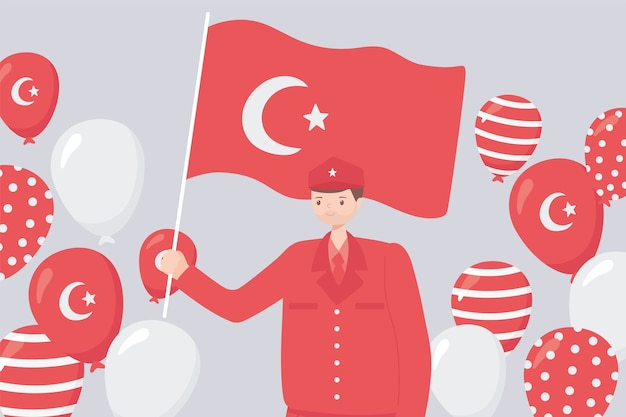 Turkey republic day, hero soldier with flag and balloons illustration