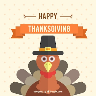 Turkey thanksgiving background in flat design