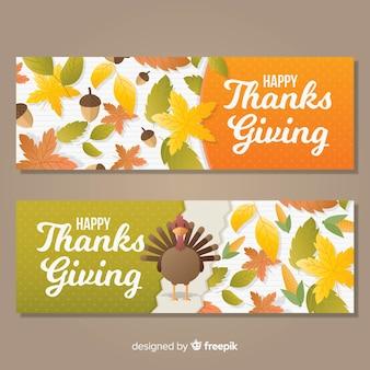 Turkey thanksgiving day banner set