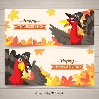 Turkey thanksgiving day banner set
