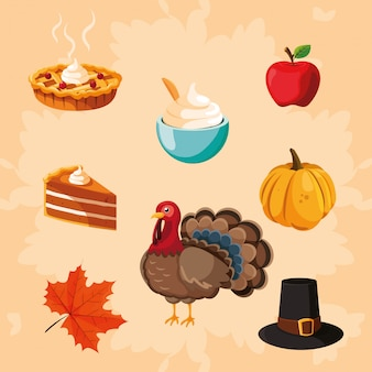 Turkey of thanksgiving day with icon set