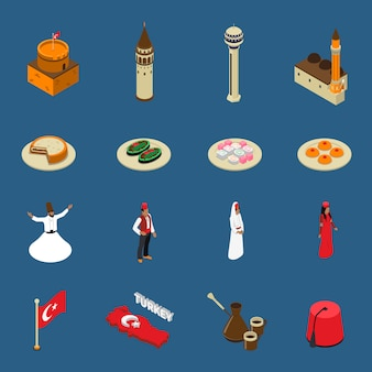 Turkey touristic isometric symbols icons collection