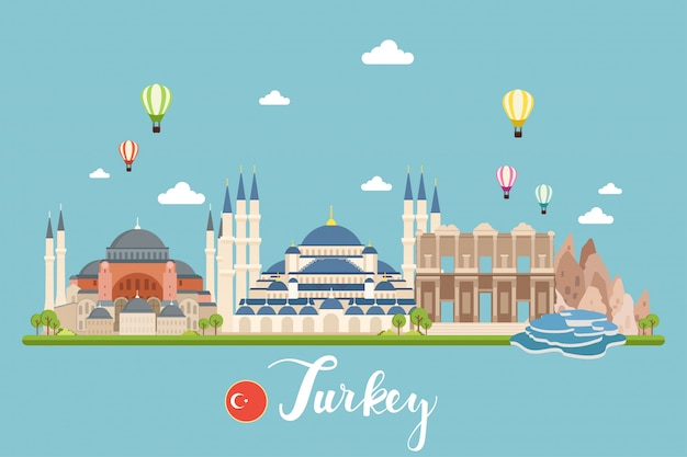 Turkey travel landscapes vector illustration