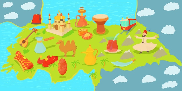 トルコ旅行マップ水平バナーのコンセプト