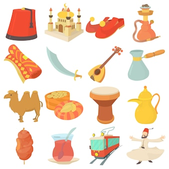 Turkey travel symbols icons set