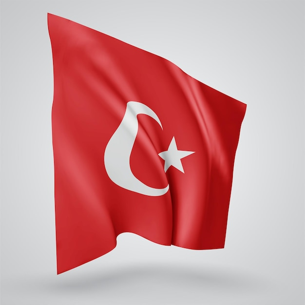 Turkey, vector flag with waves and bends waving in the wind on a white background.
