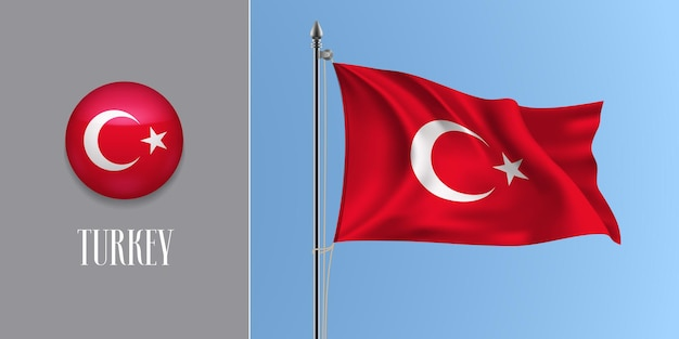 Турция развевается флагом на флагштоке и круглый значок. реалистичная 3d красный турецкий флаг и кнопка круга