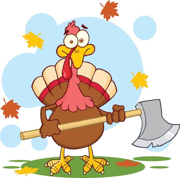 Turkey with ax cartoon character.
