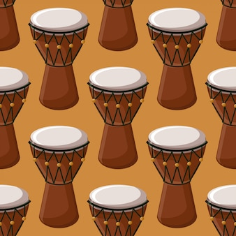 Turkish or african traditional drums seamless pattern.